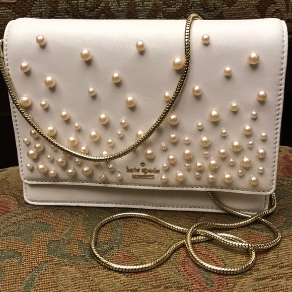 kate spade Handbags - Kate Spade mini bag white pearl embroidered